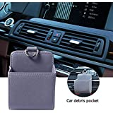 PAWACA Car Vent Accessory Organizer Bag, PU Leather Auto Air Vent Outlet Phone Pocket, Hand Phone Holder Bag Pouch for Phone Keys Sunglasses Pens
