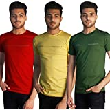 Tapasya Yellow Red Melange Grey Round T-Shirt Pack Of 3