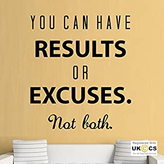 Results Excuses Gym Exercise Fitness Quote Wall Art Stickers Decals Vinyl Home Bedroom Boys Girls Kids Adults Home Livingroom Quotes Kitchen Bathroom Accessories Mural