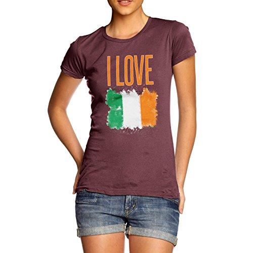 Damen I Love Ireland T-Shirt Burgund