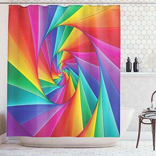 Bunte-kunst-druck (ABAKUHAUS Duschvorhang, Spiral Geformte Geometrische Farbige Dreiecke eine Bunte Illusion Darstellen Digital Kunst Druck, Wasser und Blickdicht aus Stoff mit 12 Ringen Bakterie Resistent, 175 X 200 cm)
