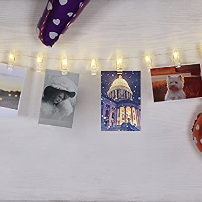 BOLWEO 30 Photo Peg Clips with 10Ft Copper Wire String Lights, Battery Powered LED Photo Clips String Lights,Perfect for Home Wall Christmas Decor - Hanging Photos Pictures Cards Artwork,Warm White - inexpensive UK light shop.