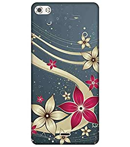 For Micromax Canvas Sliver 5 Q450 Pink flower, cream flower, grey background Designer Printed High Quality Smooth Matte Protective Mobile Pouch Back Case Cover by BUZZWORLD