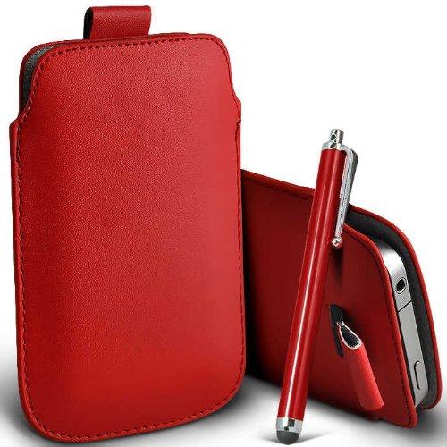 ONX3 T-Mobile G2x Rot PU Leder Pull Tab Schutztasche Case + Red High Kapazitive Stylus Pen G2x Stylus