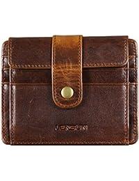 Herren Geldbörse RFID Schutz, Lensun Slim Geldbörse Echt Leder portmonee für Männer Klein Kreditkartenhalter Mini Brieftasche Credit Card Holder Geschenk-Box