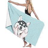 xcvgcxcvasda Serviette de Bain à Rayures Huskies pour Spa Douche et Bain Blanc