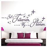 Grandora W5170 Wandtattoo Zitat Nimm dir Zeit zum Träumen I violett (BxH) 80 x 33 cm I Sterne Aufkleber Schlafzimmer Wandaufkleber Wandsticker