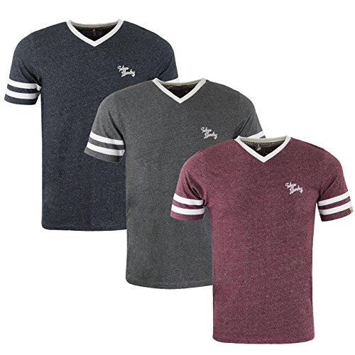 Tokyo Laundry Mens Beaver Lake Striped Short Sleeved V Neck T-Shirt