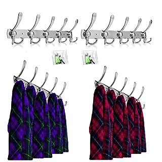 OGORI 2x 15 Hooks Stainless Steel Coat Robe Hat Clothes Wall Mount Hook Hanger Towel Rack