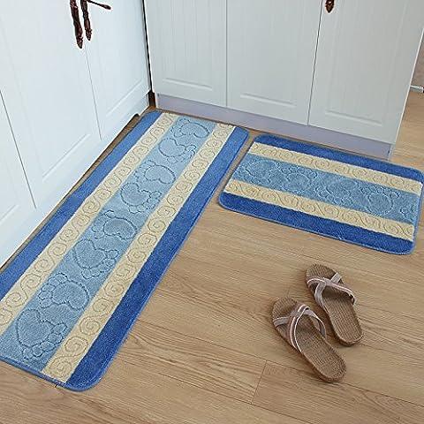 JBMQ Cucina tappetini lungo il tampone da cucina resistenti a olio assorbenti cucina zerbino piedi coperte da letto ,45*65+45*120/2 Kit Pack , Blu zoccolo