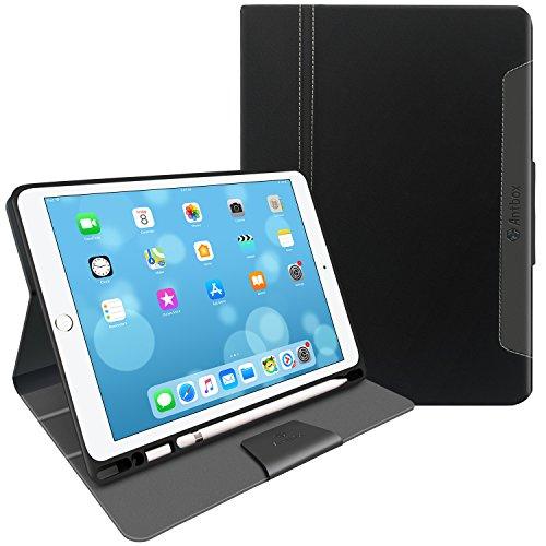 Antbox ipad pro 10.5 hülle leder, verbessertem Bruchschutz, TPU-Ledertasche mit Stifthalter/Lightning Adapter-Fach innen – Kreative Aufstellvarianten, Tasche für iPad Pro 10.5. (Ipad Apple 10)