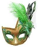 Plume mascarade masque Halloween Mardi Gras Costumes Cosplay Party Masque vénitien (Vert)