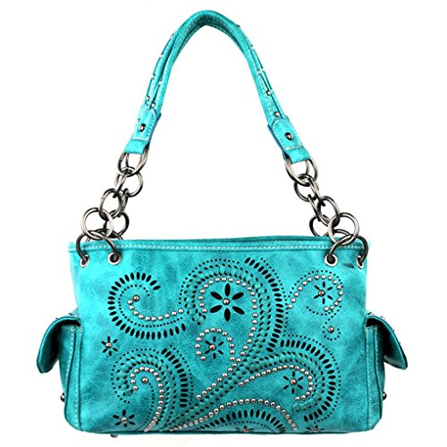 Collection Paisley Sac à Main, Sacoche, Messager et Portefeuille 8085-Turquoise