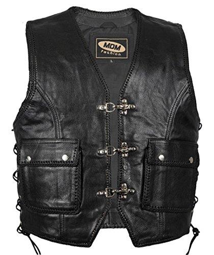 MDM Lederweste mit 2 Aufgesetzten Taschen (L)