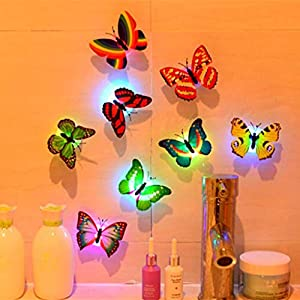 Deloito 10 Pcs Wall Stickers Butterfly LED Lights Wall Stickers 3D House Decoration-Multicolor