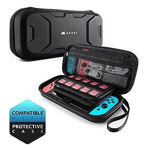 Mumba Tasche für Nintendo Switch Tragbar Switch Hülle Travel Carry Case Doppelschutz Aufbewahrungstasche mit größerem Speicherplatz für Nintendo Switch, Schwarz (Schwarz)