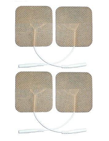 4 Elettrodi adesivi quadrati 4x4cm con filo_spinotto pin 2mm universale