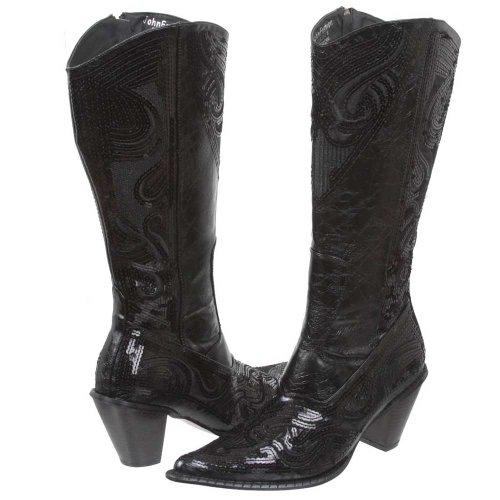 JohnFashion, Damen Stiefel & Stiefeletten , Schwarz - schwarz - Größe: 41 EU (M) (Damen Cowgirl-stiefel Größe 10)