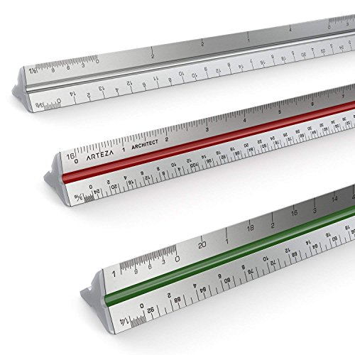 Regla De Escalas Triangular De Aluminio Para Arquitectos Arteza 30 cm, escalas por colores, en pulgadas.