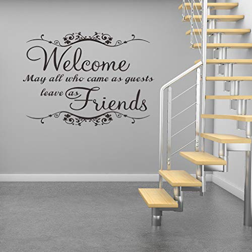 Anmain'Welcome Friend' Adesivi Murali Semplice Sticker Da Muro Lettera Adesivo Per Pareti Moderno Wall Stickers Decorazioni Interni Frasi Adesive Parete Accessori Adesivi Creativi Soggiorno