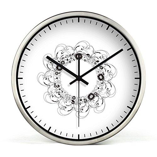 ZLR Mute De Mode Mute Horloge Murale Salon Creative Horloge Murale De Mode Suspendus Noir Et Blanc Fleur Motif Horloge ( Couleur : Silver )