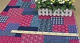 IDEA HIGH IDEA HOCH rot und blau prüFen und mit Blumenmustern Ethnischen Stoff Baumwolle und Leinen Gewebe Tischdecke für DIY Handarbeit Home Decor Kissen Tela: rot, 150x140cm