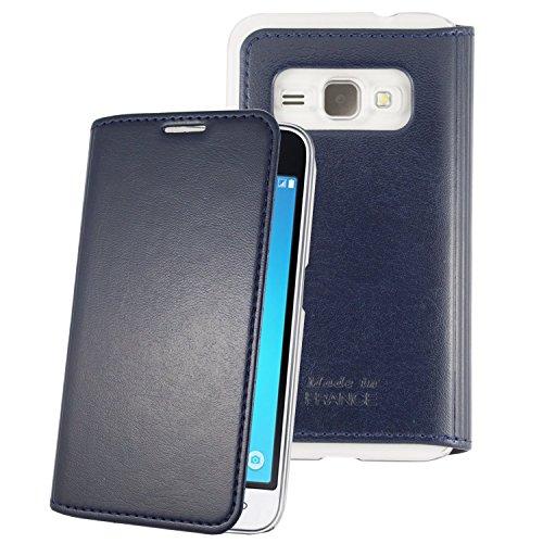 55e516e6bb3 Destinationtelecom Muvit Made in Papis Schutzhülle Crystal Folio Luxus Blau  Nacht für Samsung Galaxy J1 2016