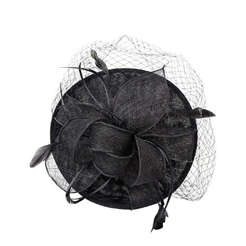Barlingrock Handmade Hut Feder Mesh Net Party Hut Hüte Blume Derby Hut mit Clip und Haarband für Frauen Haarspange Hochzeit lässig große Hut Kopfschmuck Mesh Top Hut Haarband