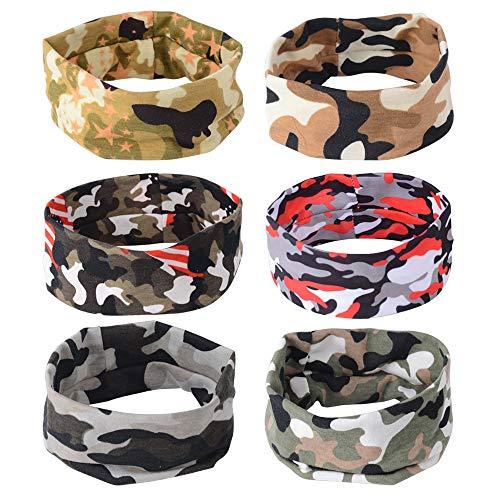 MEJOSER 6pcs Lauf Stirnband Jogging Headband Damen Herren Sports Yoga Stirnband Antitranspirant Stirnband Camouflage - Camouflage Stirnband
