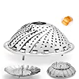 Collapsible Saucepan Steamer Basket Vegetable Steamer, 100% Stainless Steel
