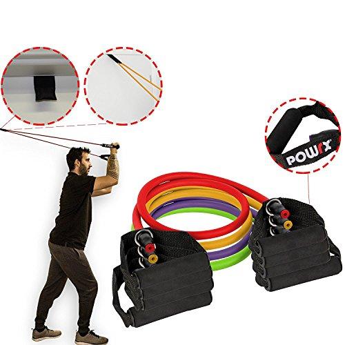 POWRX - Fasce elastiche di resistenza con manici - Bande elastiche con fissaggio per porta - Ideali per esercizi in casa o palestra - Colore e resistenza a scelta + PDF workout (Set completo)