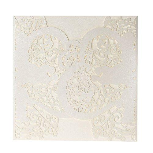 Anself 20 Stück Laserschnitte Hochzeit Einladungskarten mit Spitze Design