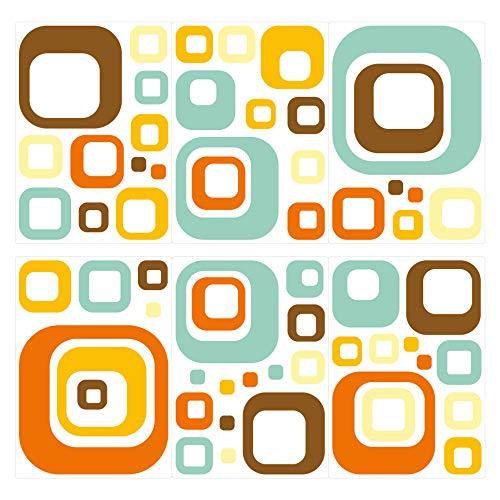 dekodino® Wandtattoo Retro Cubes blau orange gelb 60 Stück Wohnzimmer Deko
