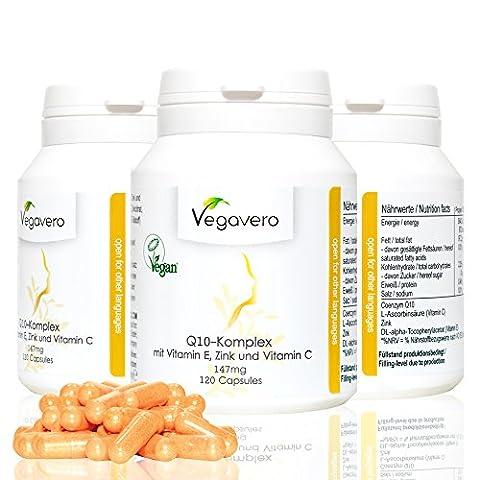 CoQ10 147mg   120 Capsules, 4 Month Supply   with Coenzyme Q10 (100mg) + Vitamin C (20mg) + Vitamin E (12mg) + Zinc (15mg)   100% VEGAN by
