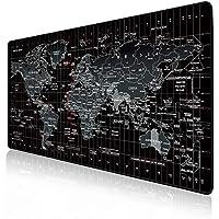 JIALONG Gaming Mauspad XXL Gross 900x400x3mm Schreibtischunterlage Abwischbar Anti Rutsch Matte Multifunktionales Office Mousepad Schwarz Weltkarte
