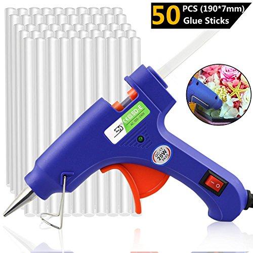 Heißklebepistole, CRMICL 20W Heißklebepistole, Klebepistole mit 50 Stück Klebesticks, Hochtemperatur Lexible Trigger für DIY Kunst und Handwerk Projekte und Kleine Reparatur (Blau)