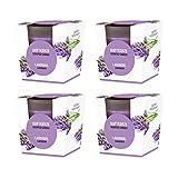Pajoma Duftkerze 4er Set Lavendel im satinierten Glas, 124 g, Brenndauer: 25 Stunden, in Edler Geschenkverpackung