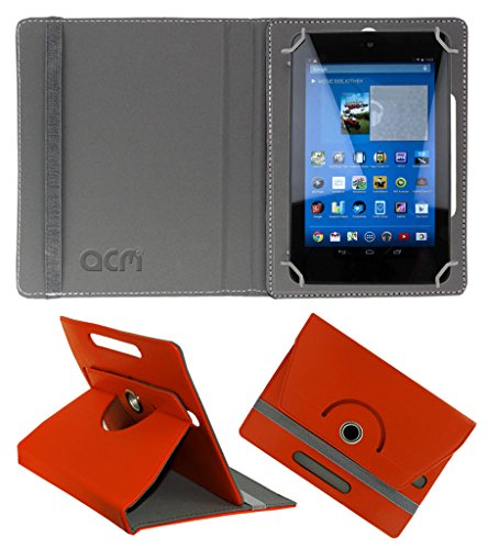 Acm Rotating 360° Leather Flip Case for Dell Venue 7 3740 Cover Stand Orange  available at amazon for Rs.149