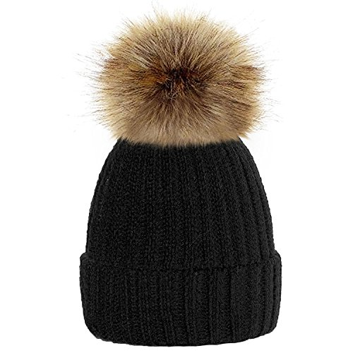 TOSKATOK®Womens Winter Rib Knitted Hat / Beanie with Detachable Chunky Faux Fur Bobble Pom Pom - available in 10 colours