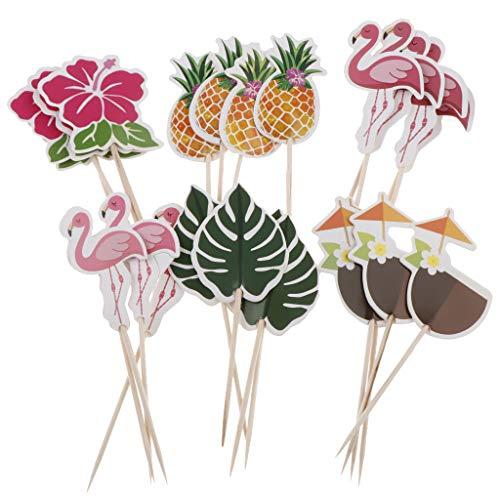 IPOTCH 24stk. Kuchenaufsatz Kuchendeckel Cupcake Picks Tortenstecker Muffin Topper Backen/Cocktail Dekoration mit Tropischen Stil