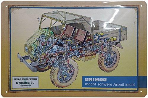 Unimog Blechschild, Unimog macht schwere Arbeit leicht Nostalgic Retro Metal Plate, 20 x 30 cm