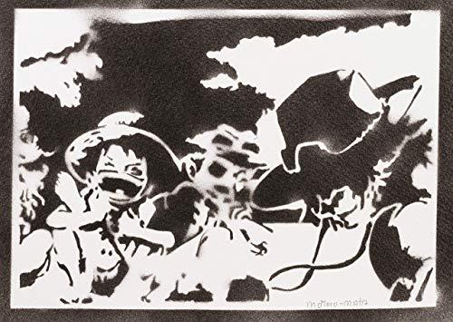 One Piece Luffy Ace und Sabo Poster Plakat Handmade Graffiti Street Art - Artwork (Action Film Figur Kostüme)