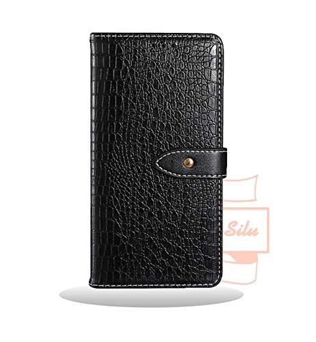 Yidai-Silu Galaxy M20 PU Leder Tasche, 【Kroko Muster, Geldbeutel, Standfunktion, Magnetverschluss】 Handy Hülle Portmonee Wallet Case Etui für Samsung Galaxy M20 6,3 Zoll - Schwarz -