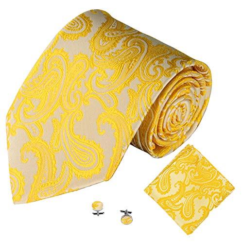 Xmiral Klassische Jacquard Krawatte Herren Einstecktuch Einstecktuch Manschettenknopf(M)