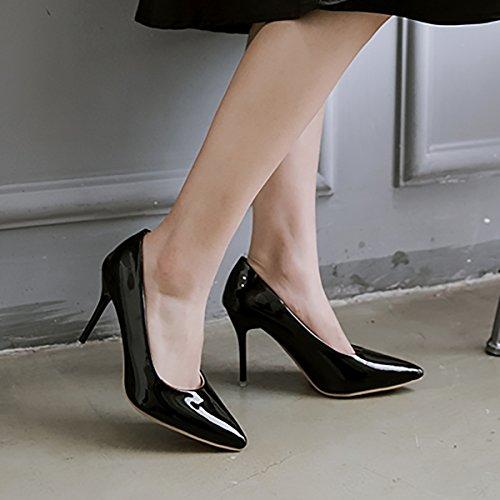 UH Femmes Sandales à Talons Moyen Aiguilles Vernis Bout Pointu Sexy et Elegantes pour Journee et Partie Noir
