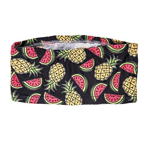 Damen Tube Top Bikini Bustier Sommer Coachella Style Bandeau Party Outfit Look Trägerlos Schulterfreies Fullprint Onesize Pineapple And Watermelon