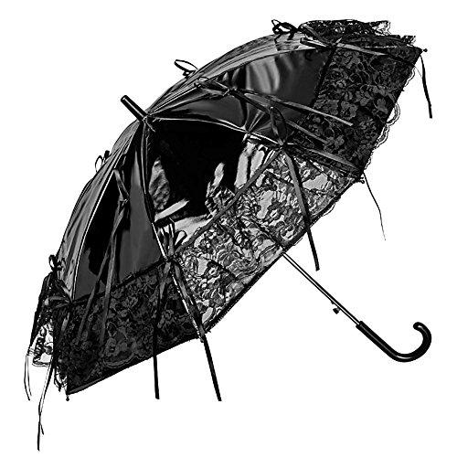 VON LILIENFELD Regenschirm Damen Sonnenschirm Automatik Brautschirm Hochzeitsschirm Steampunk Lackleder Optik Schleifen: Callista, - Günstige Steampunk Kostüm