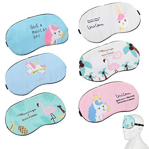 Mwoot Schlafmaske Mädchen Damen, 6 Stk Einhorn Augenmaske für Einhornübernachtungsparty
