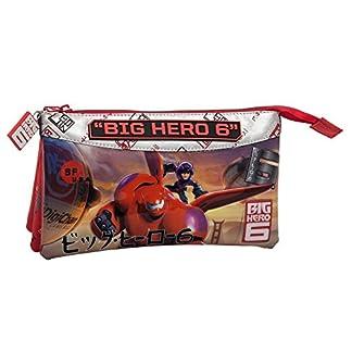 Disney Big Hero 6 Estuche de Tres Compartimentos, Color Rojo