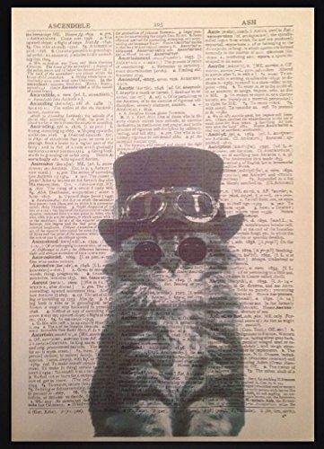 Steampunk Gattino Gatto Dizionario Vintage Stampa Artistica da Parete con immagine animali (Cat Antico Fascino)